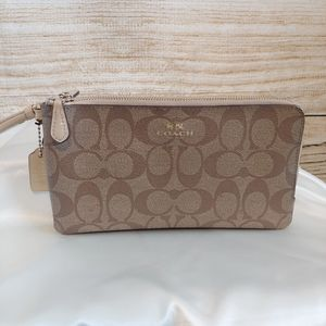 COACH Signature Double Zip Wristlet